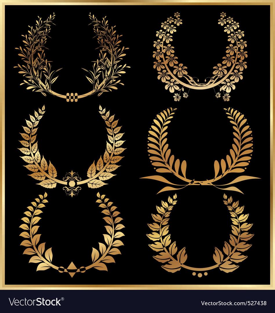 Golden laurel wreaths set vector image