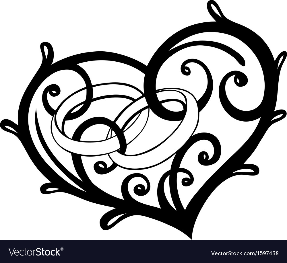 Love Liebe Hochzeit Wedding Silhouette Brautpaar Schwar: Heart Rings Wedding Royalty Free Vector Image