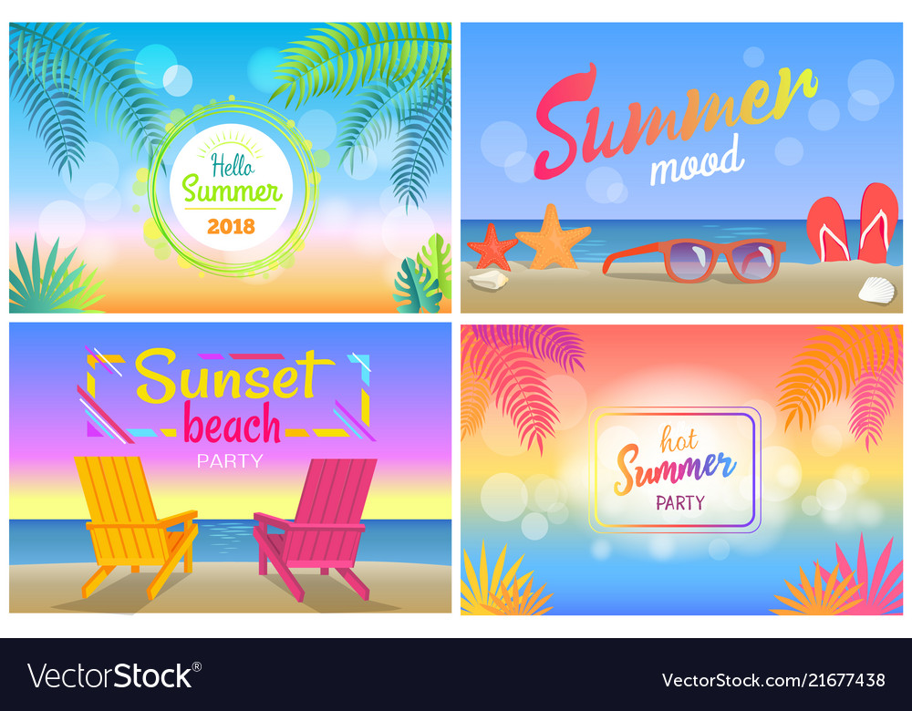 Hello summer 2018 tropical promotional posters set