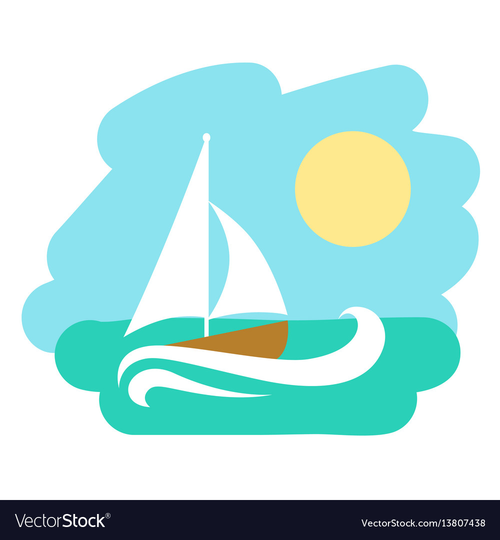 Landscape with sailboat icon