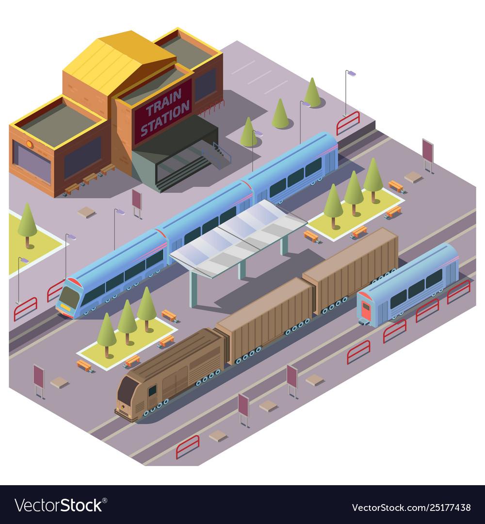 Railroad transport on train station