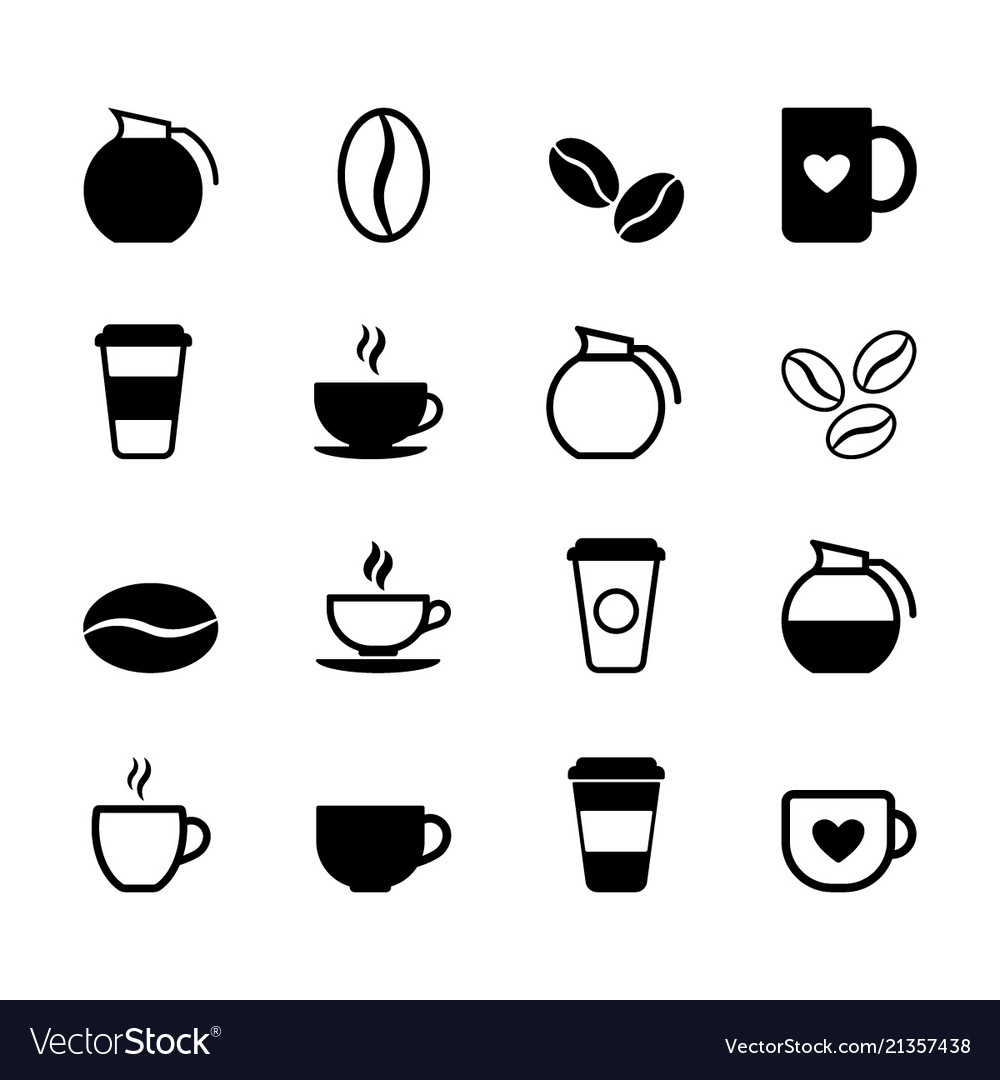Set of simple coffee icons