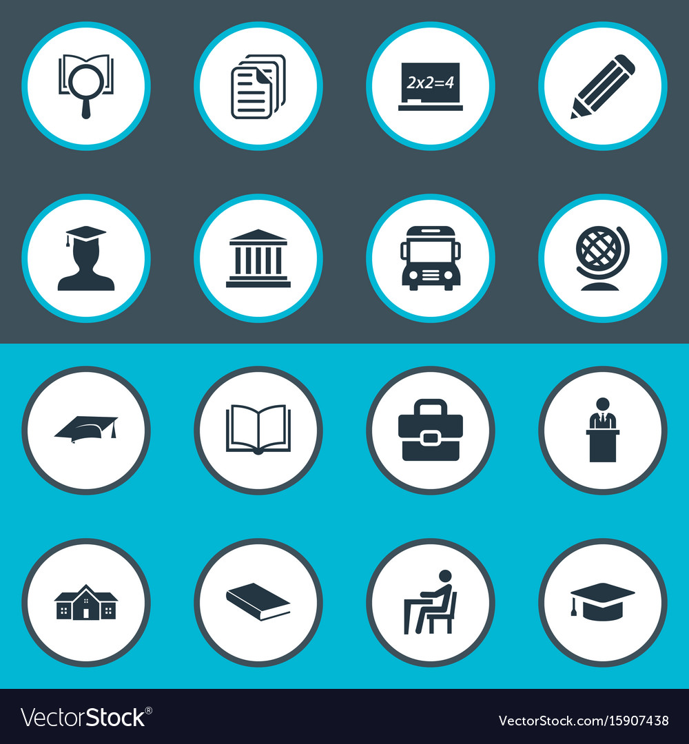Set of simple school icons vector image