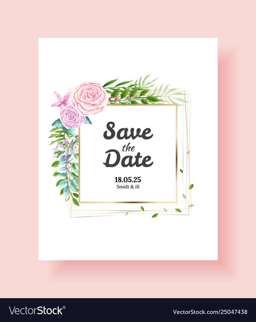 Wedding invitation card save date thank you