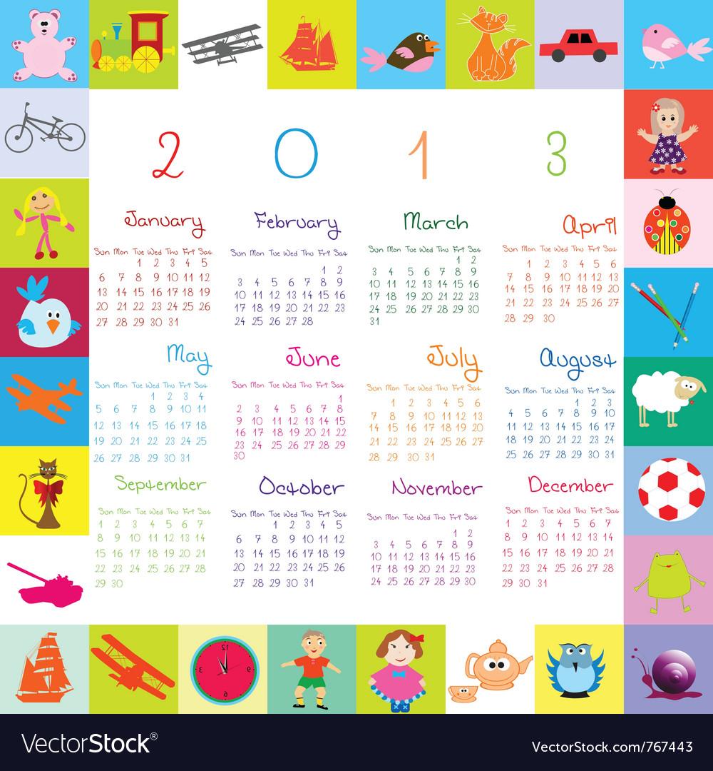2013 calendar for kids vector image