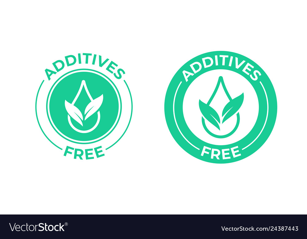 Additives free icon green leaf and drop additives