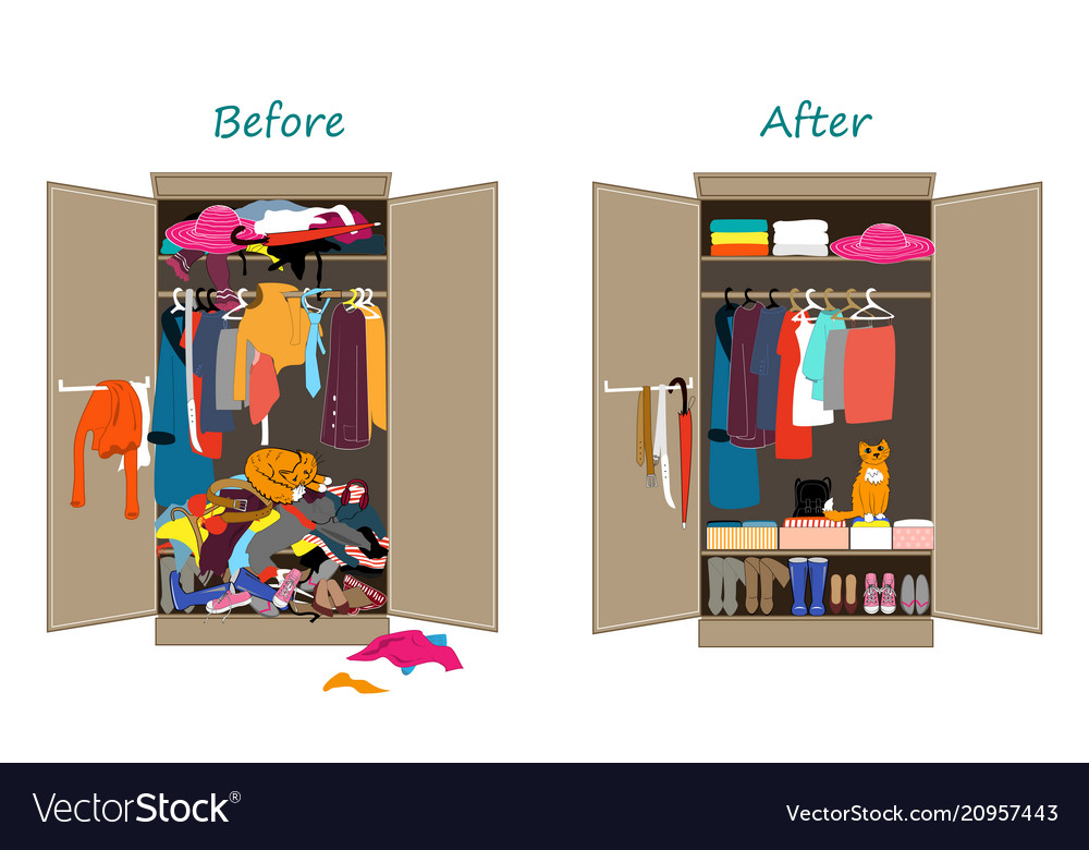 Before Untidy And After Tidy Wardrobe Messy Vector Image