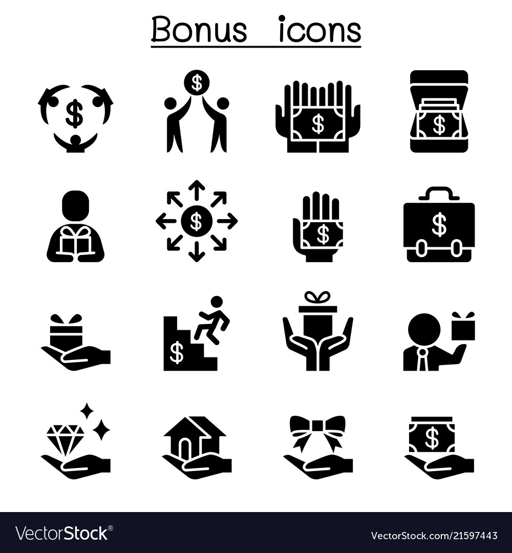 Bonus business investment icon set