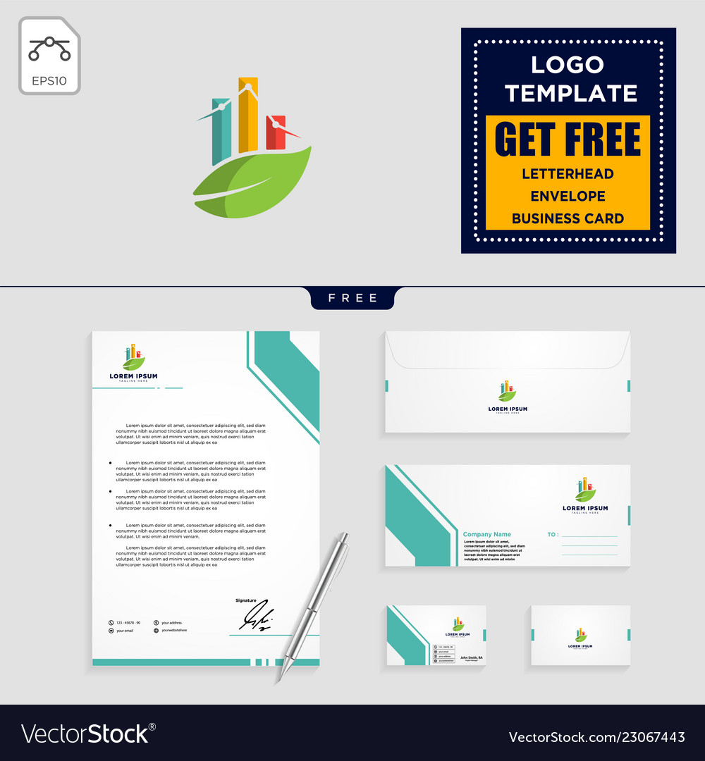 Business chart with leaf logo template and