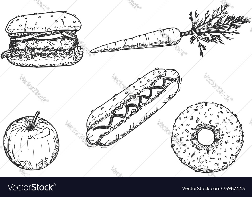 Cartoon Drawing Of Set Of Vegetable Fruit And