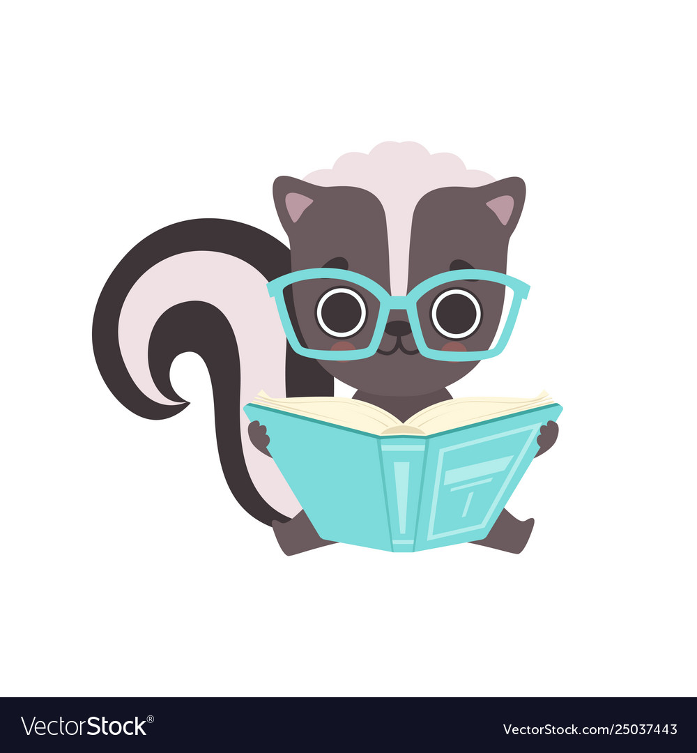 Cute little skunk in glasses reading book