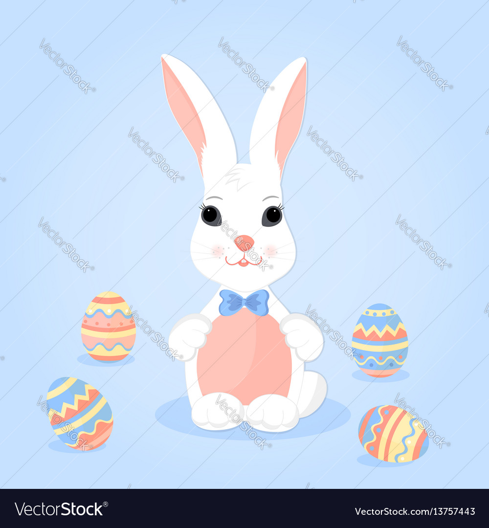 Easter bunny with ears in a bow and paschal eggs