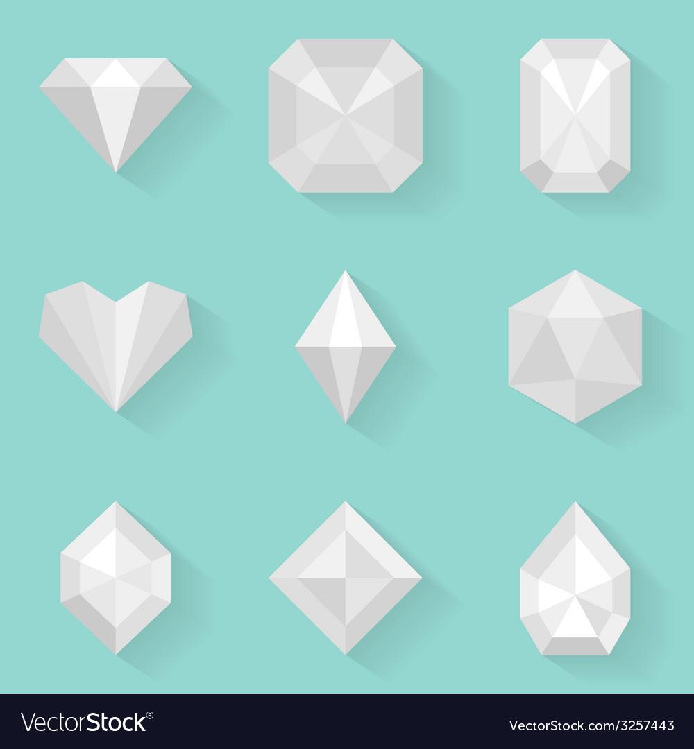 Flat icon set Diamond White style