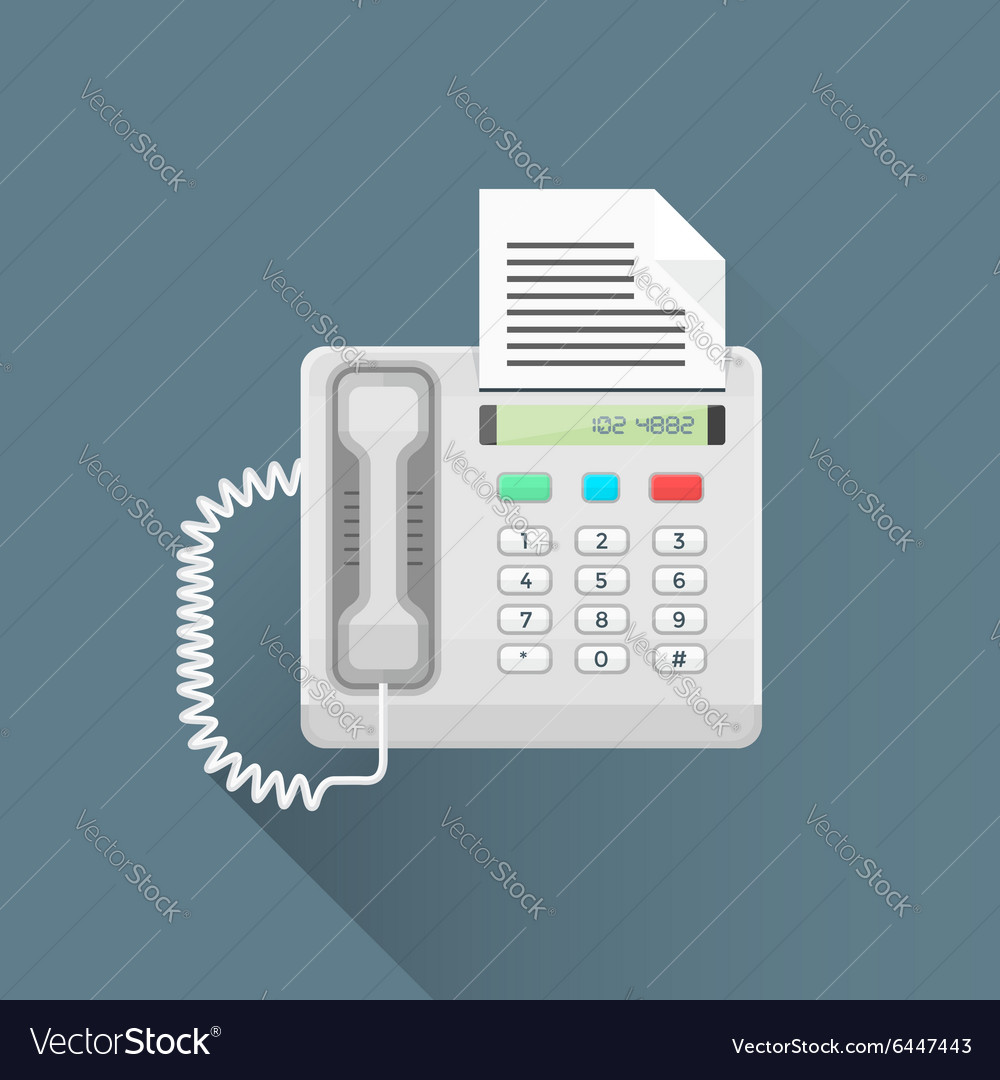 Flat style office fax phone icon