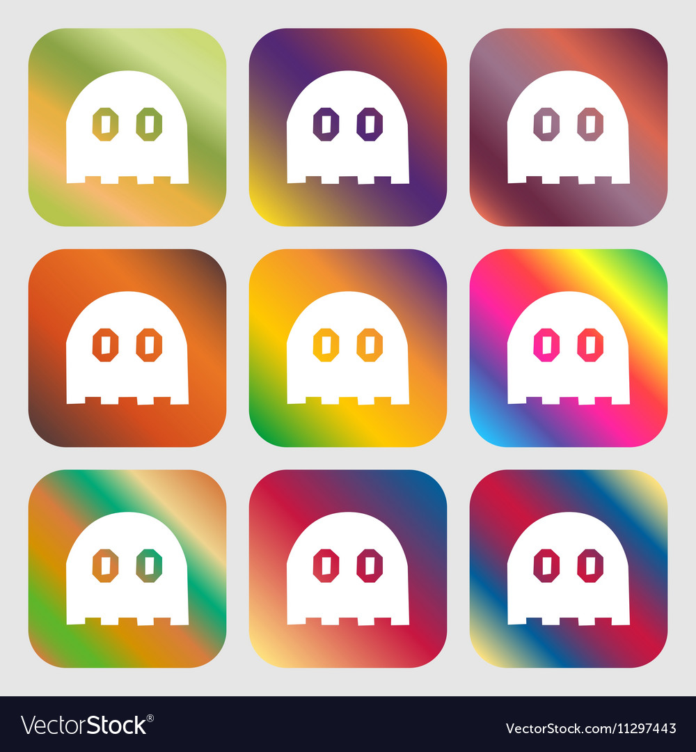 Ghost icon sign Nine buttons with bright gradients