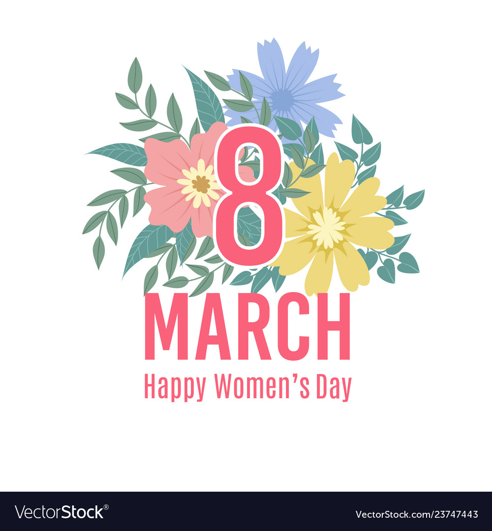 Greeting card of 8 march happy womens day