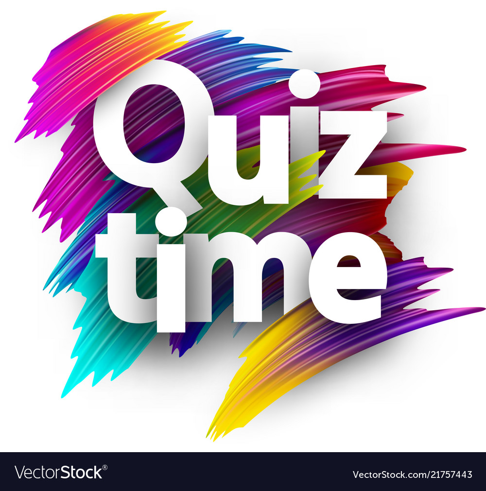 Quiz time card with colorful brush strokes