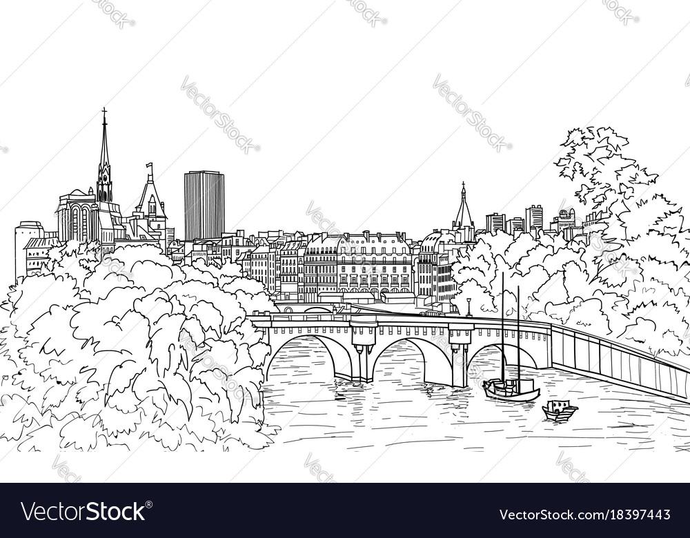 Riverside street view paris city skyline