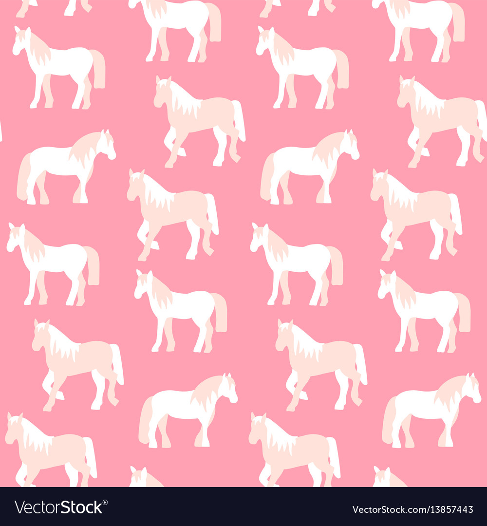 Seamless pattern of beautiful horses in pastel