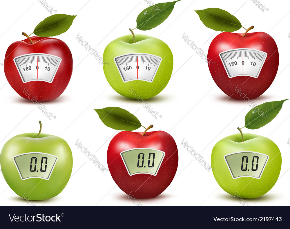 Set of apples with weight scales Diet concept