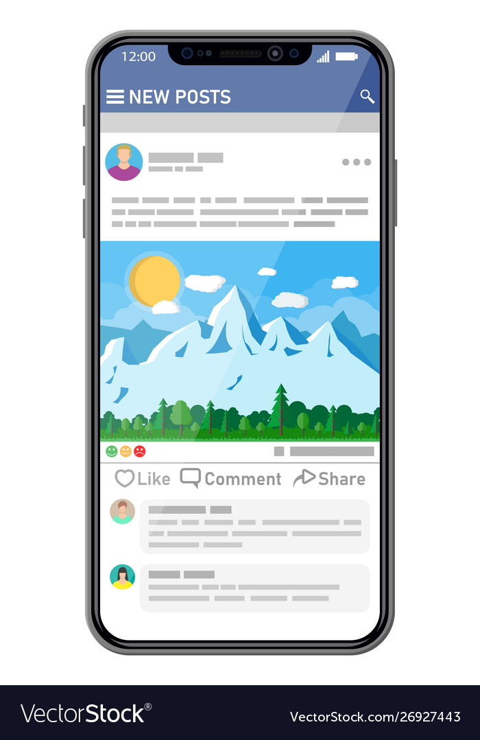 Social network interface template on smartphone