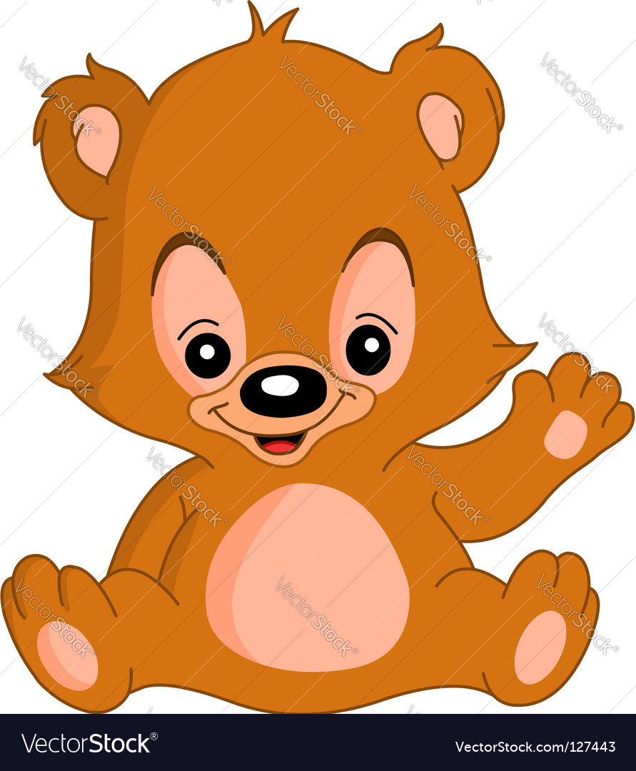 Waving teddy bear vector image