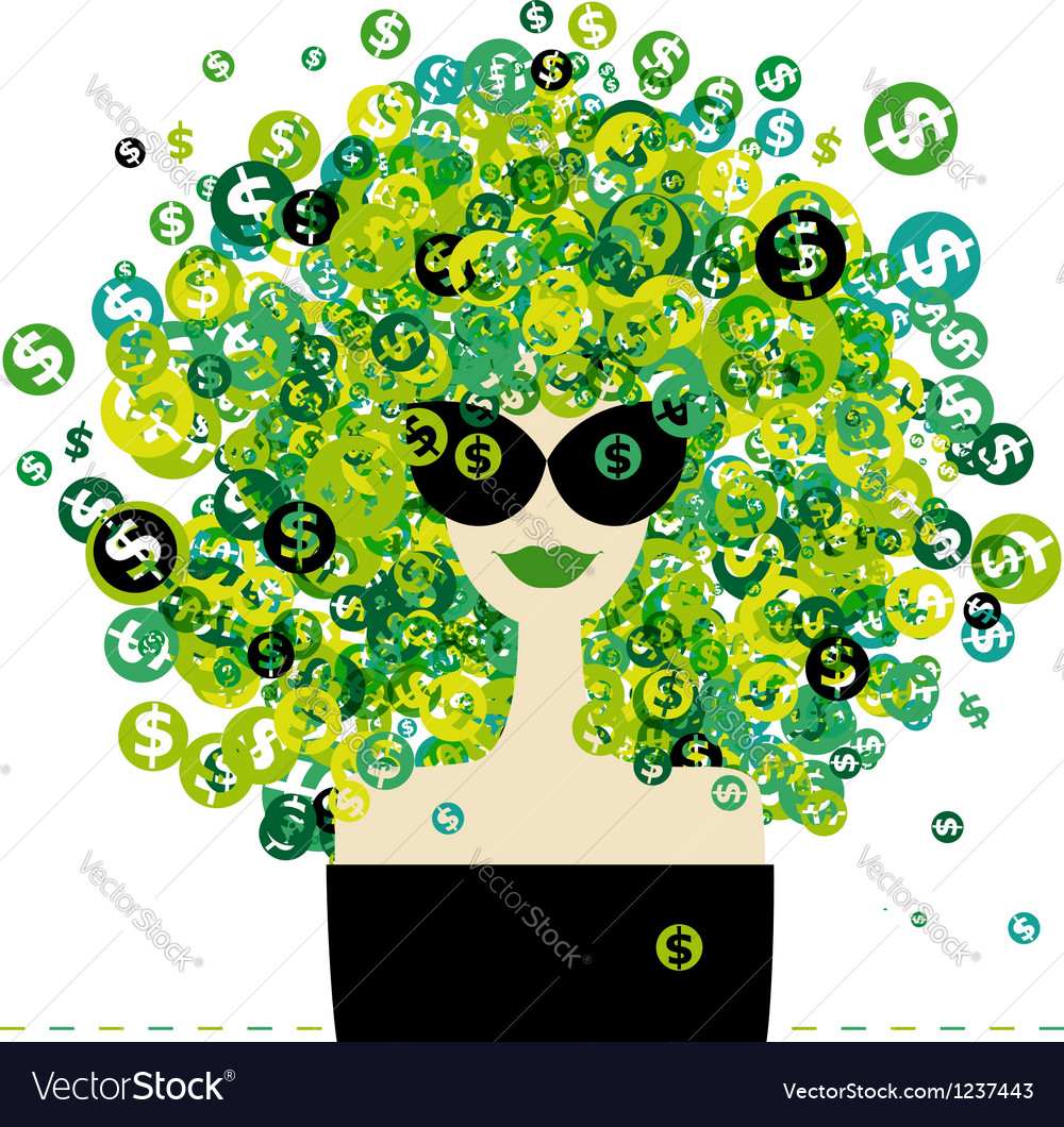 Woman portrait with dollar signs hairstyle for vector image