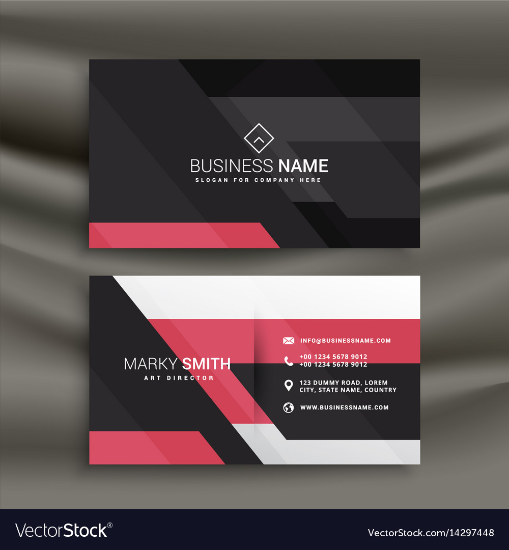 Abstract pink and black business card design Vector Image