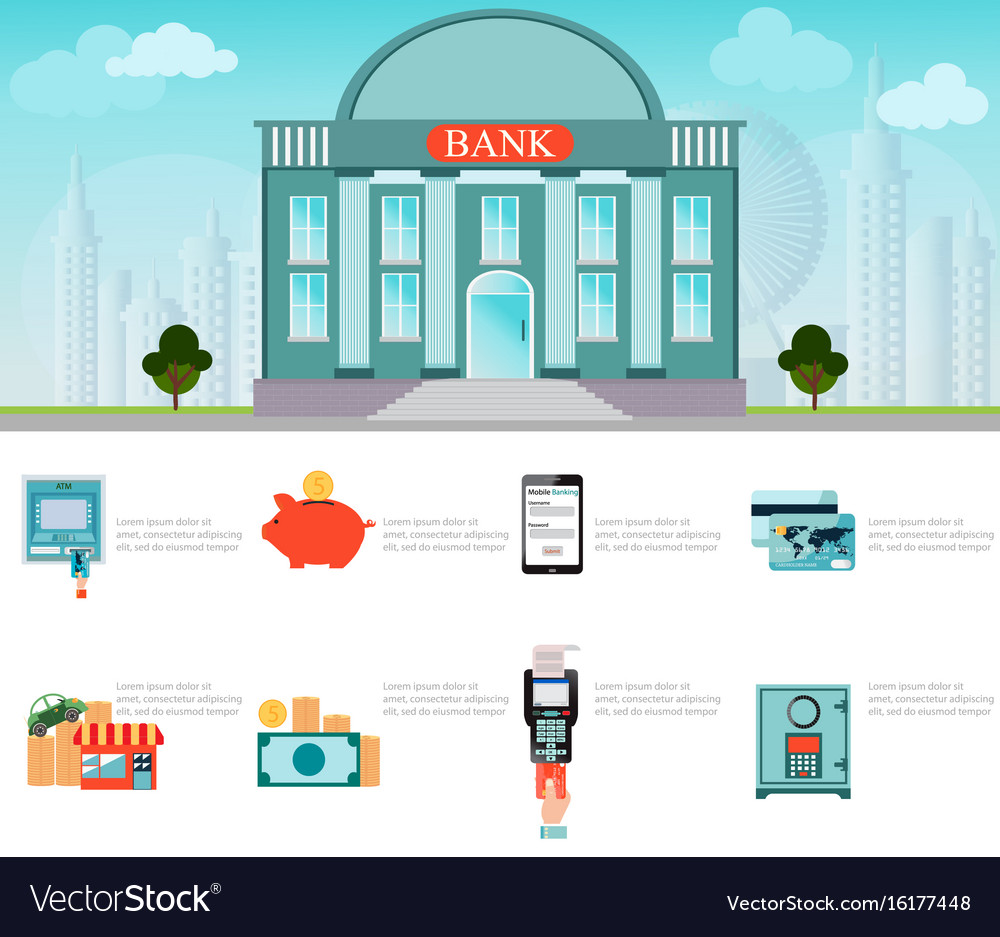 Bank building exterior on cityscape vector image