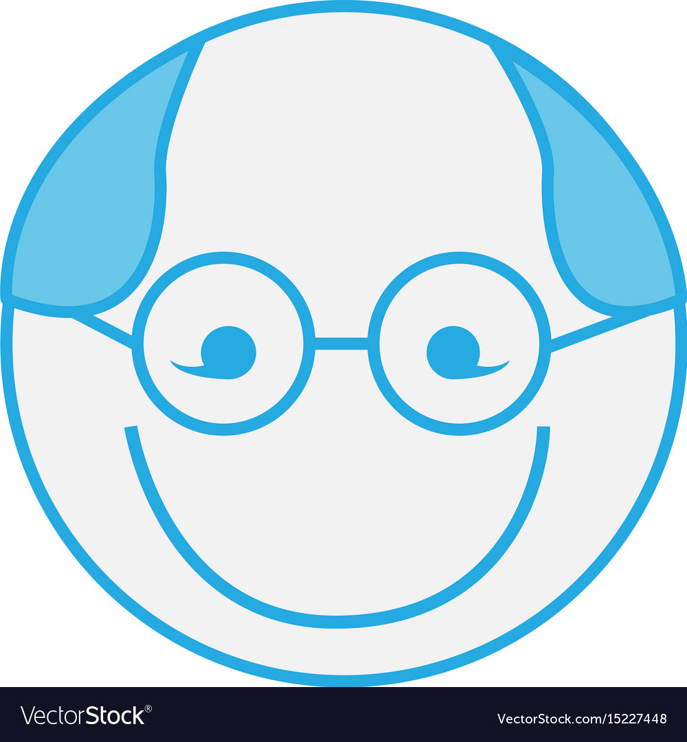 Blue round grandfather man face cartoon
