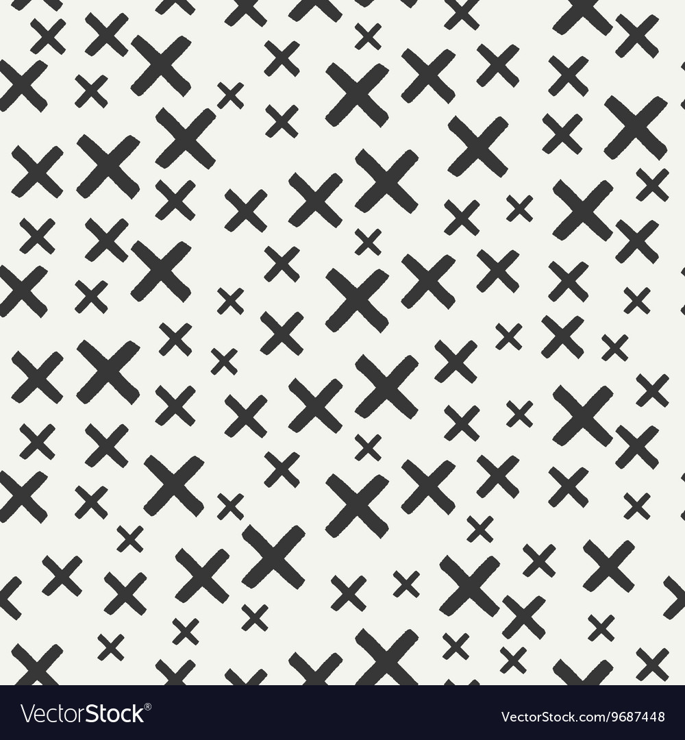 Hand drawn geometric seamless ink pattern with