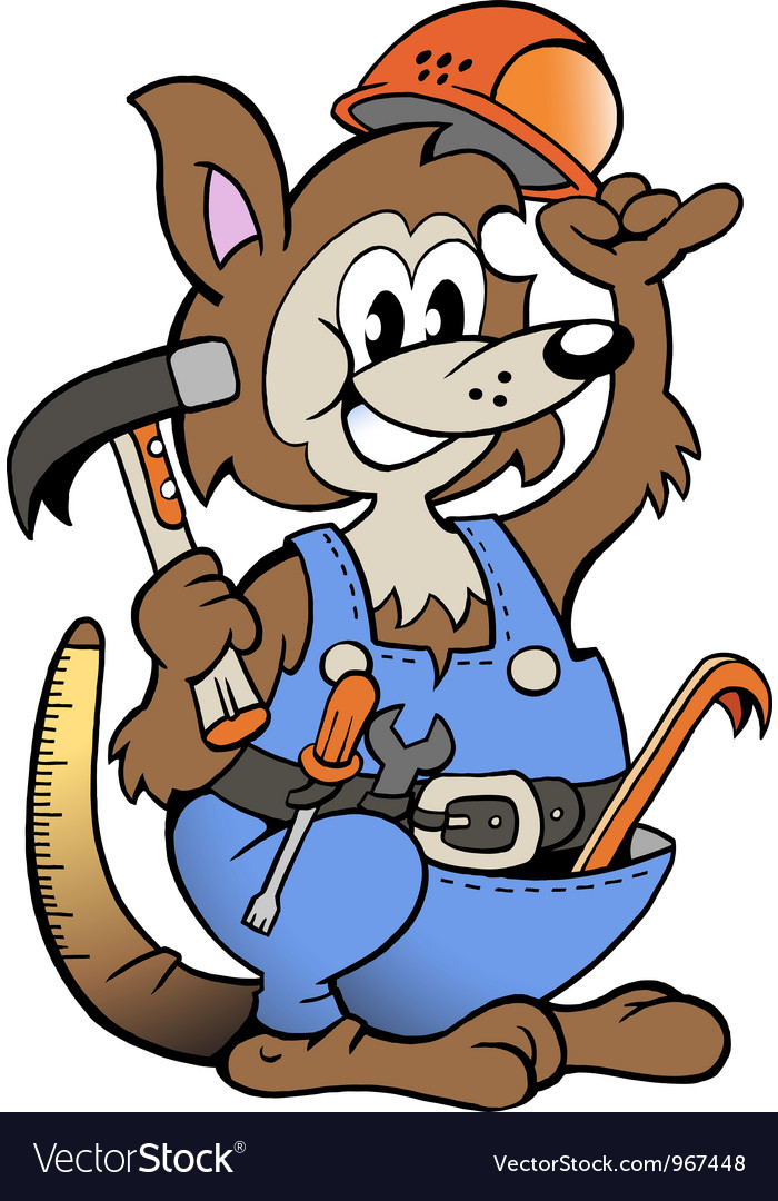 Hand-drawn of an Kangaroo Handyman