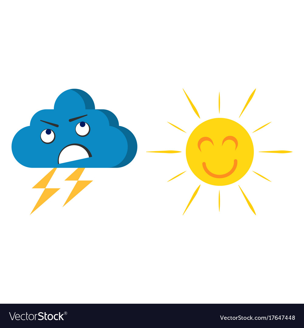 Happy cheerful sun and angry cloud
