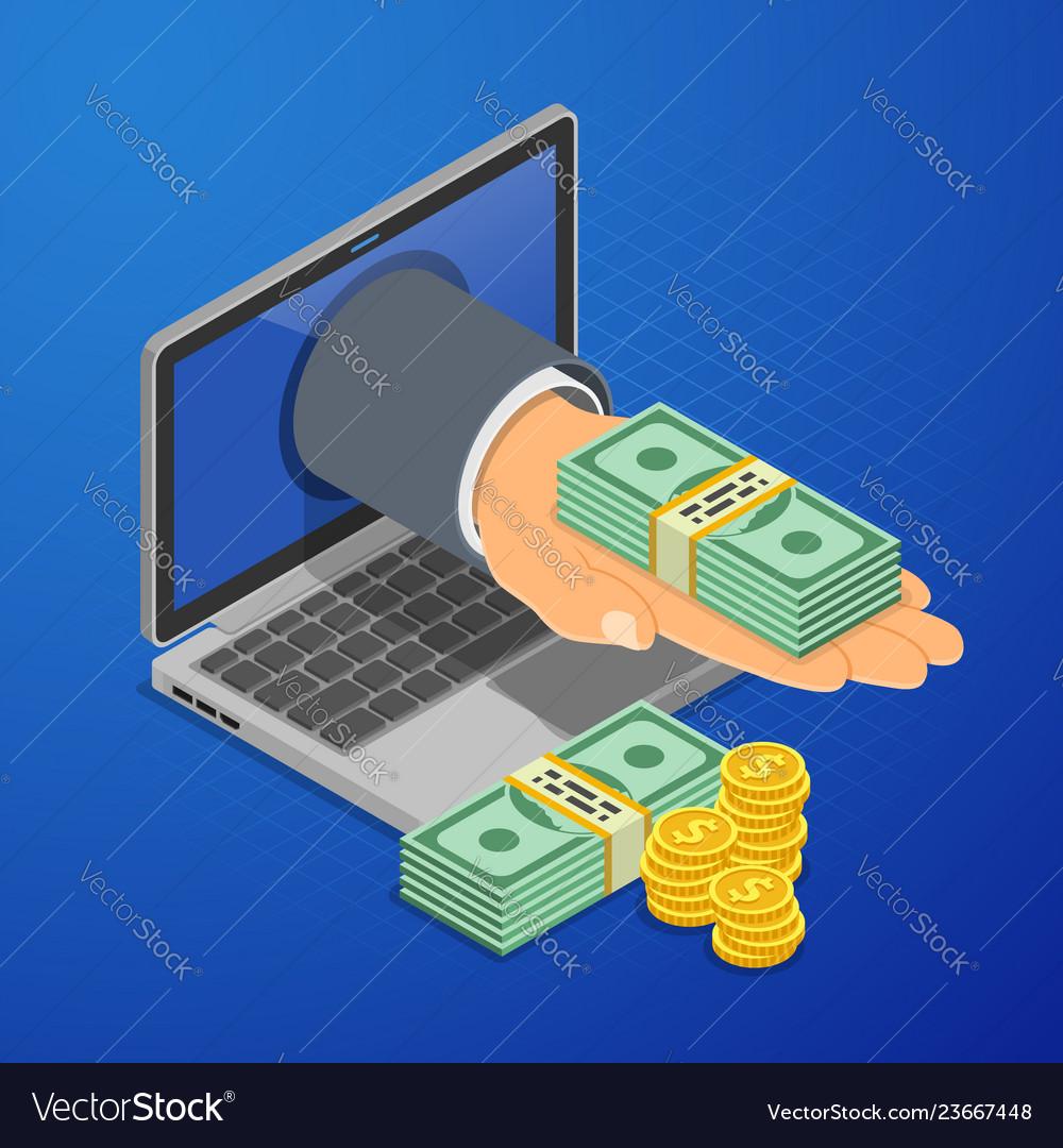 Internet online earnings isometric concept