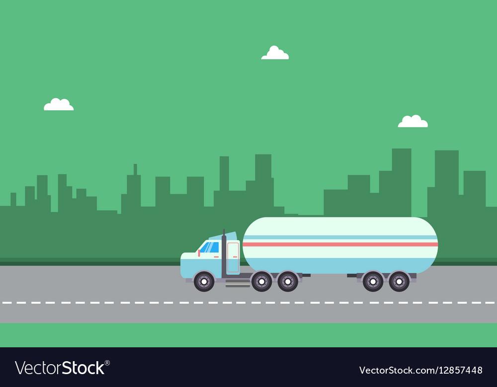 Landscape of road tanker on city backgrounds