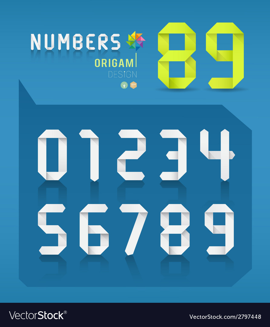 Paper origami numbers collections design vector image