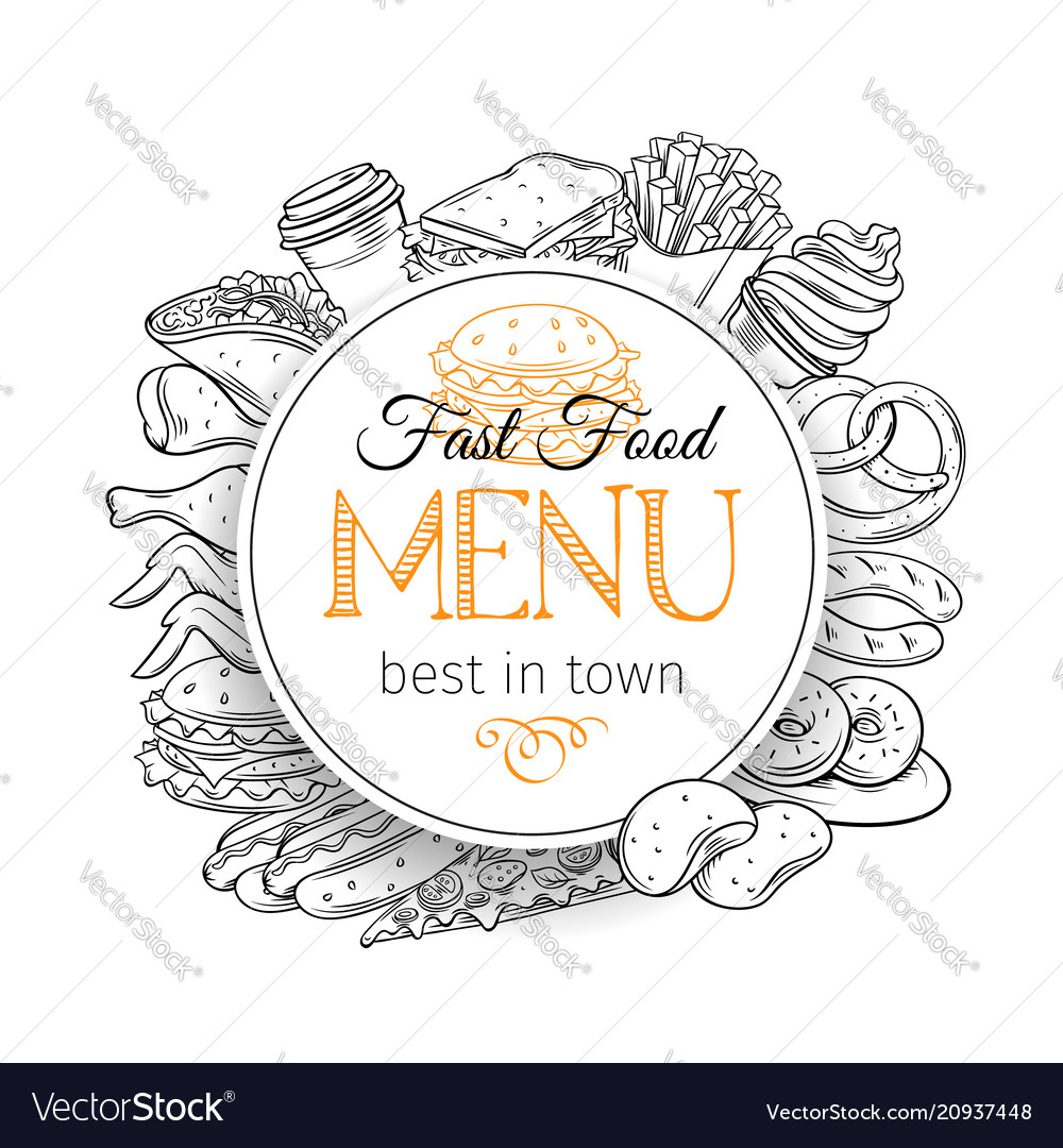 Round banner with fast food