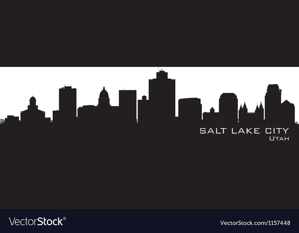 Salt Lake City Utah skyline Detailed city silhouet
