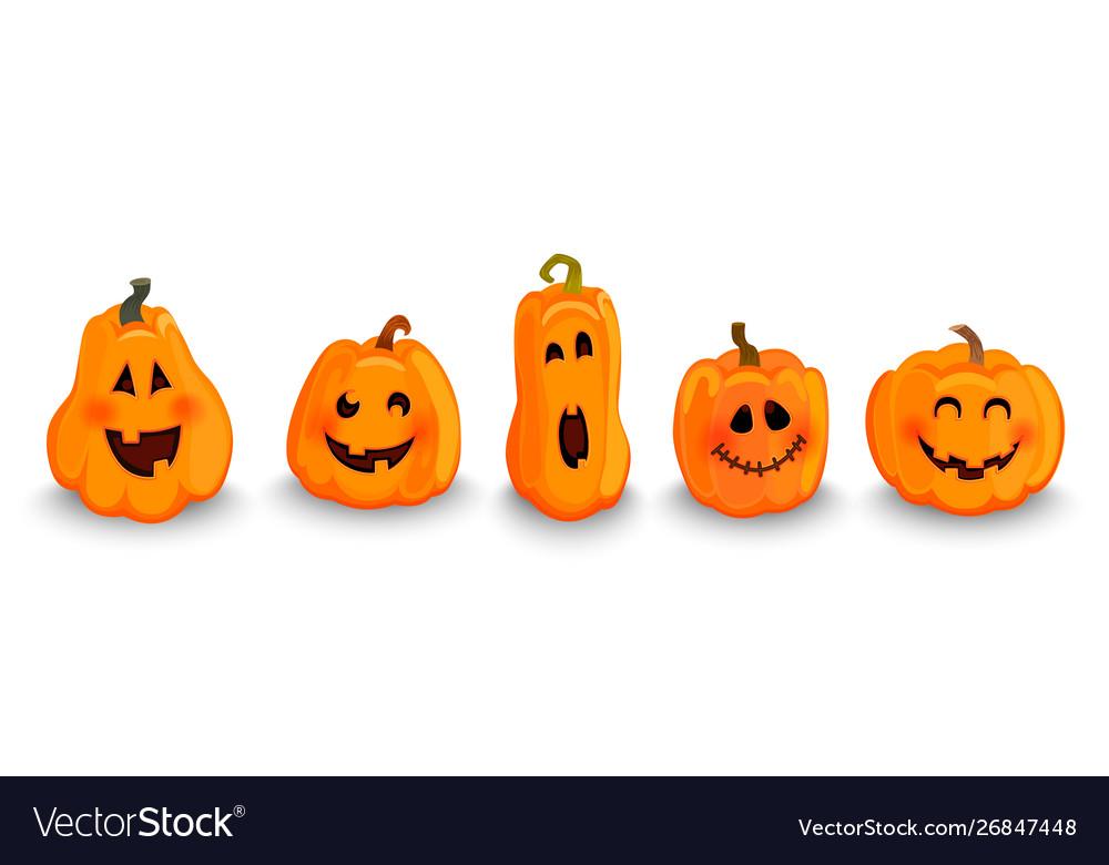 Set halloween pumpkins characters