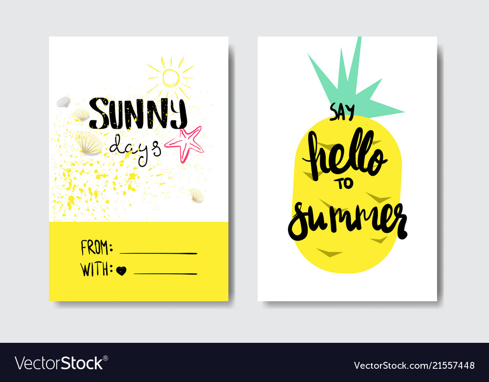 Set hello summer pineapple badge isolated