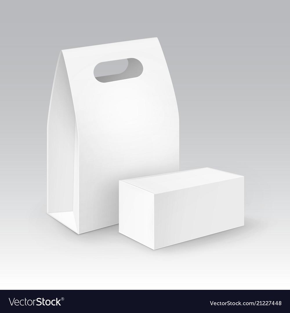 Set of white blank cardboard rectangle take
