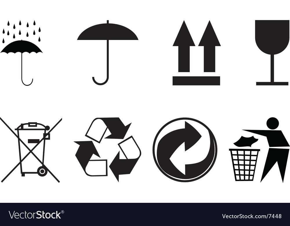 Symbols For Packing Subjects Royalty Free Vector Image
