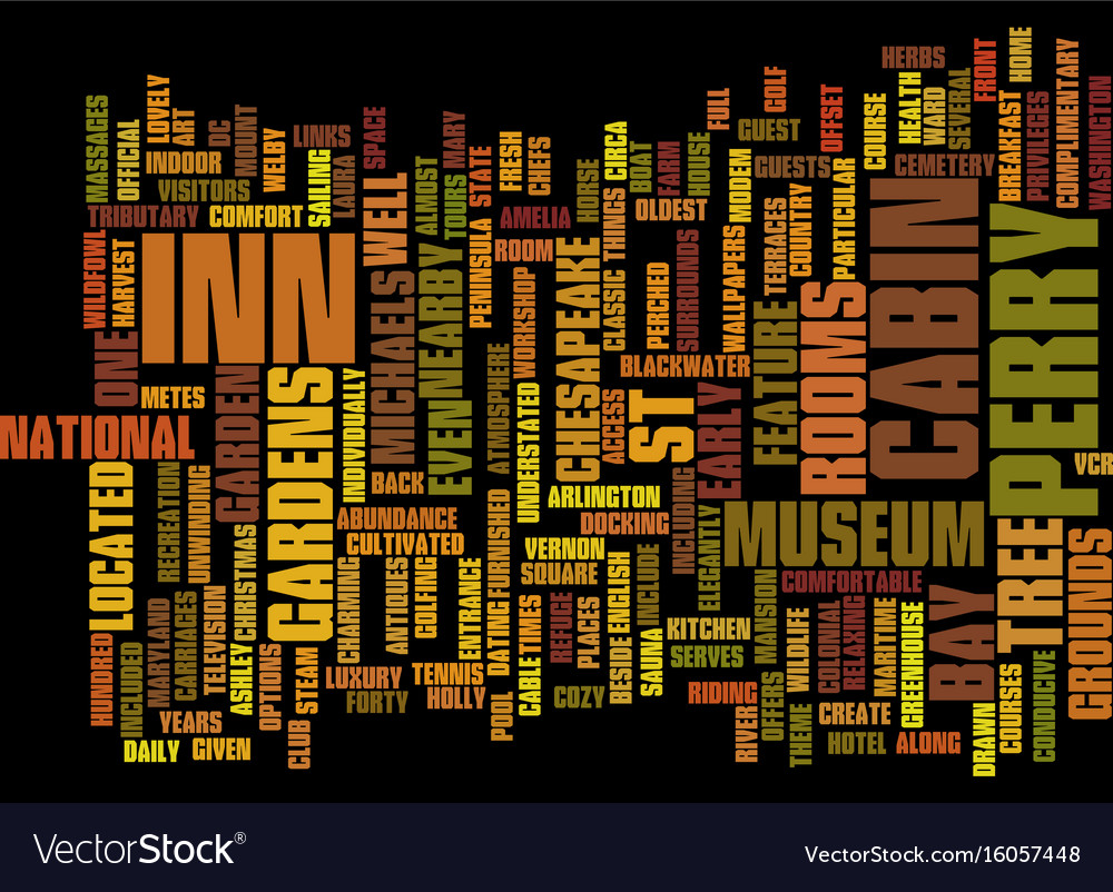 The inn at perry cabin text background word cloud vector image
