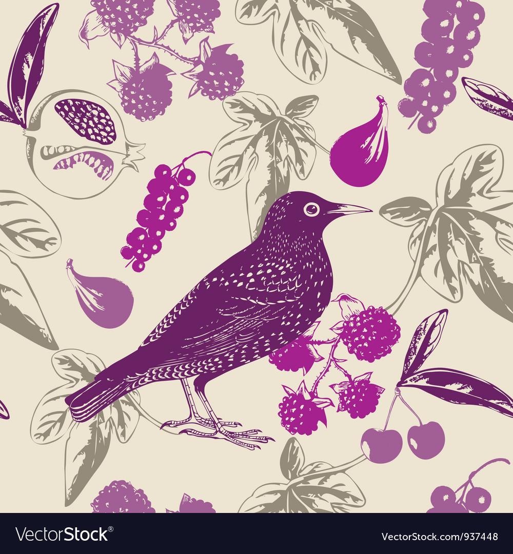 Vintage bird berry pattern