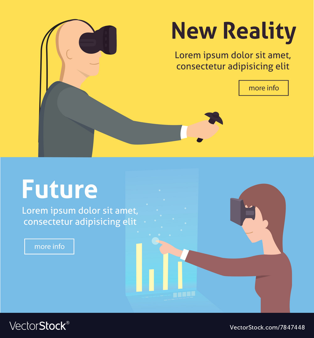 Virtual reality set cartoon style