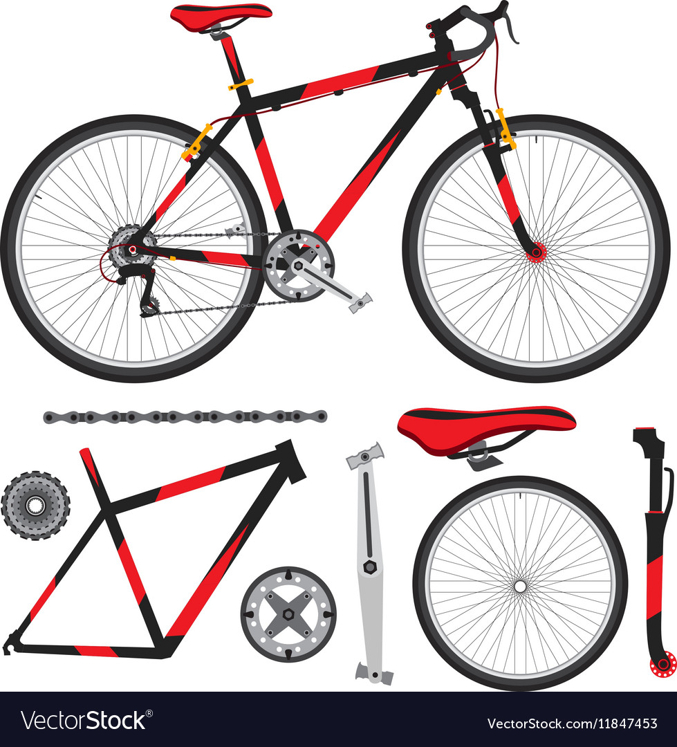 Bicycle Bike Parts Accessories Details Royalty Free Vector