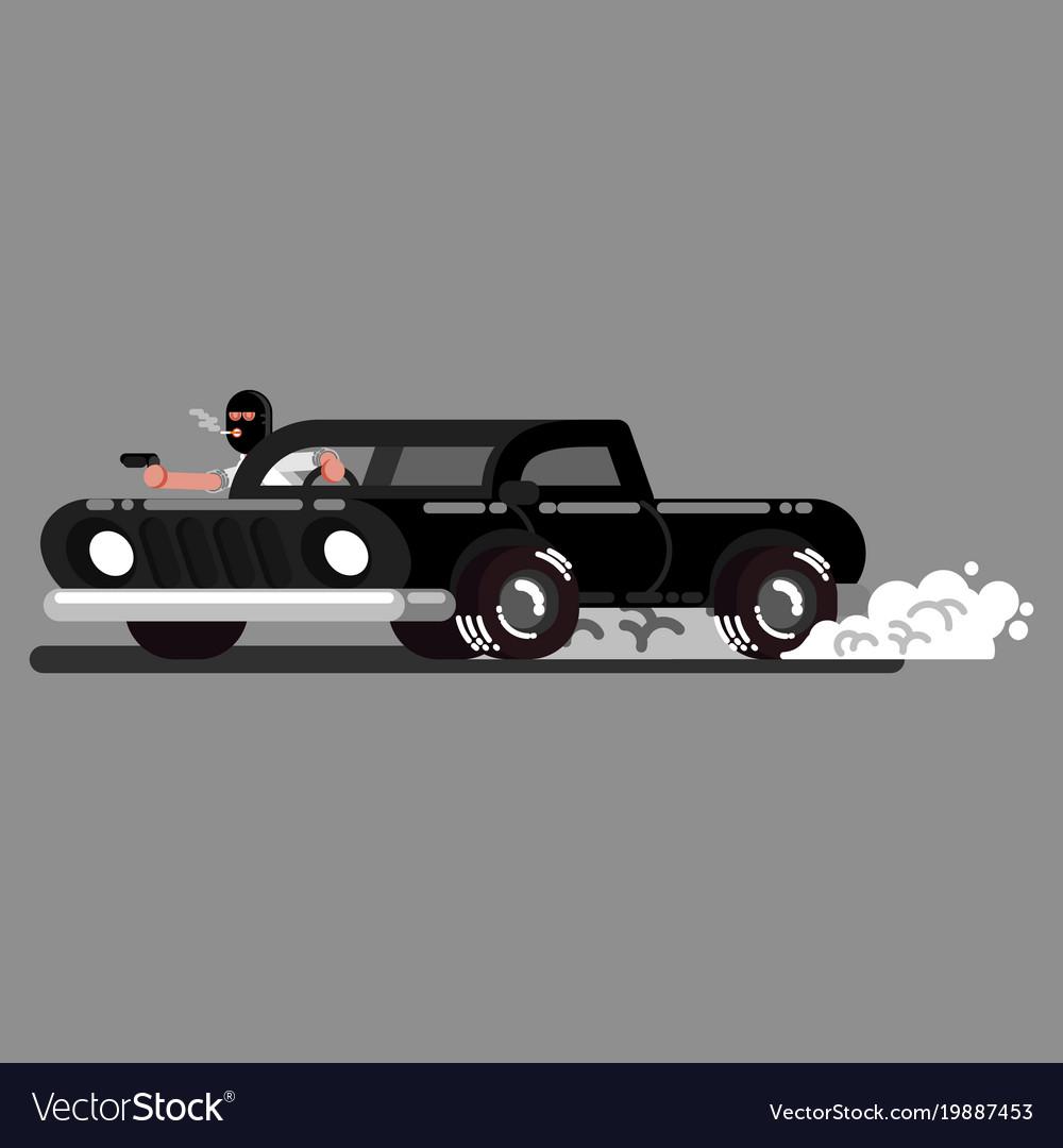 Criminal drives a car and shoot
