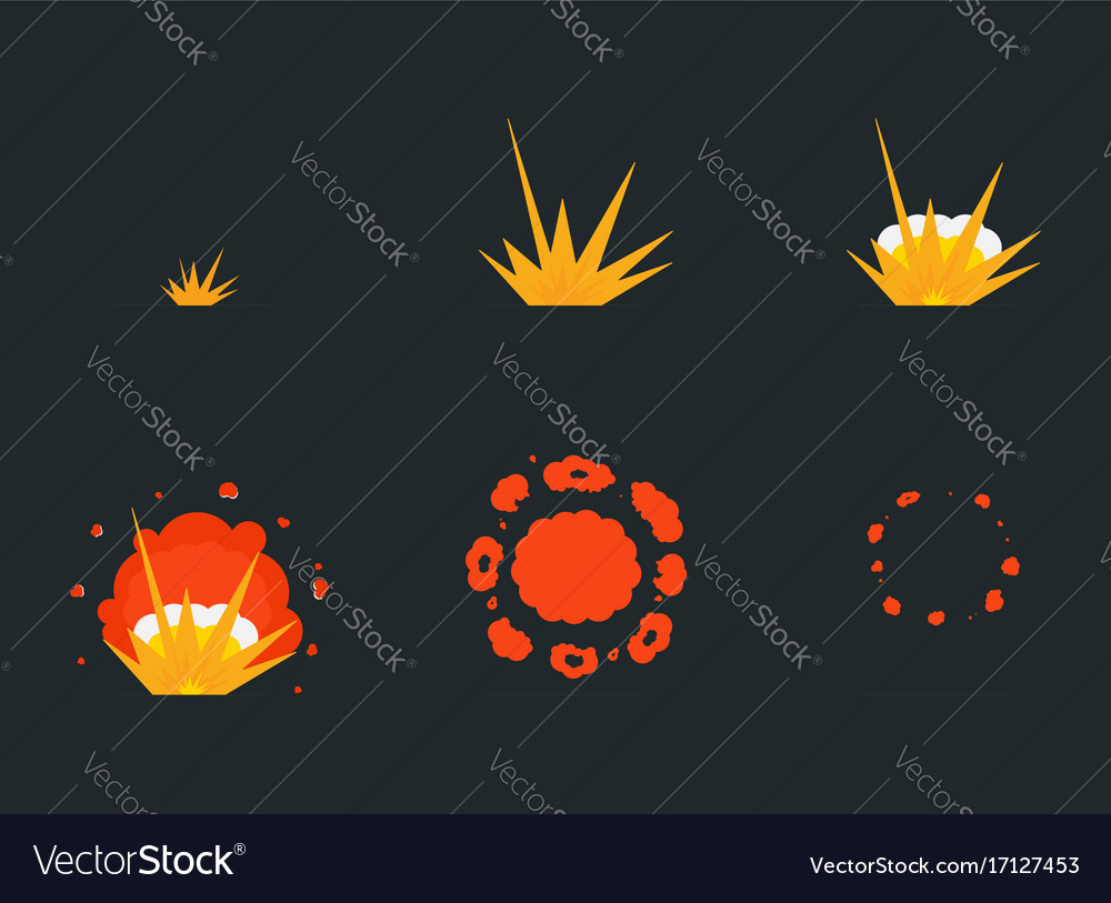 Explode effect animation with smoke cartoon bang vector image