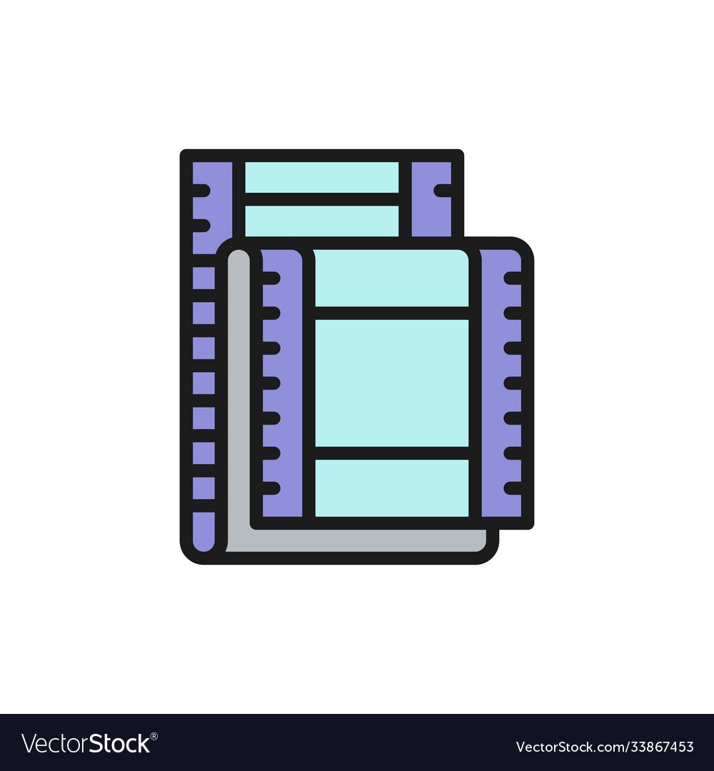 Film strip cinema frames flat color line icon