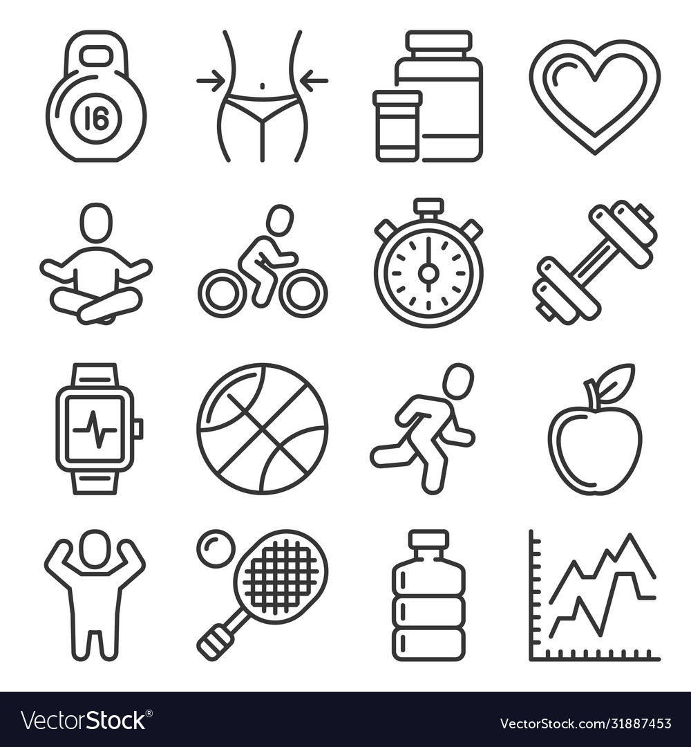 Fitness and health icons set on white background